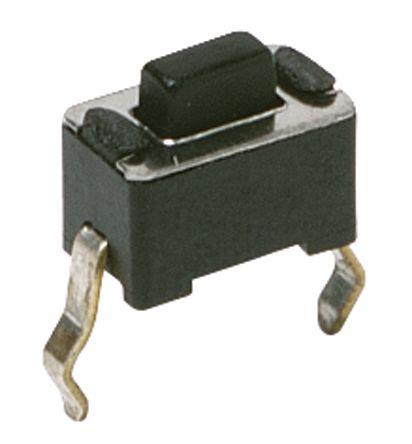 C & K IP40 Black Button Tactile Switch, Single Pole Single Throw (SPST) 50 mA 3mm Through Hole (20)