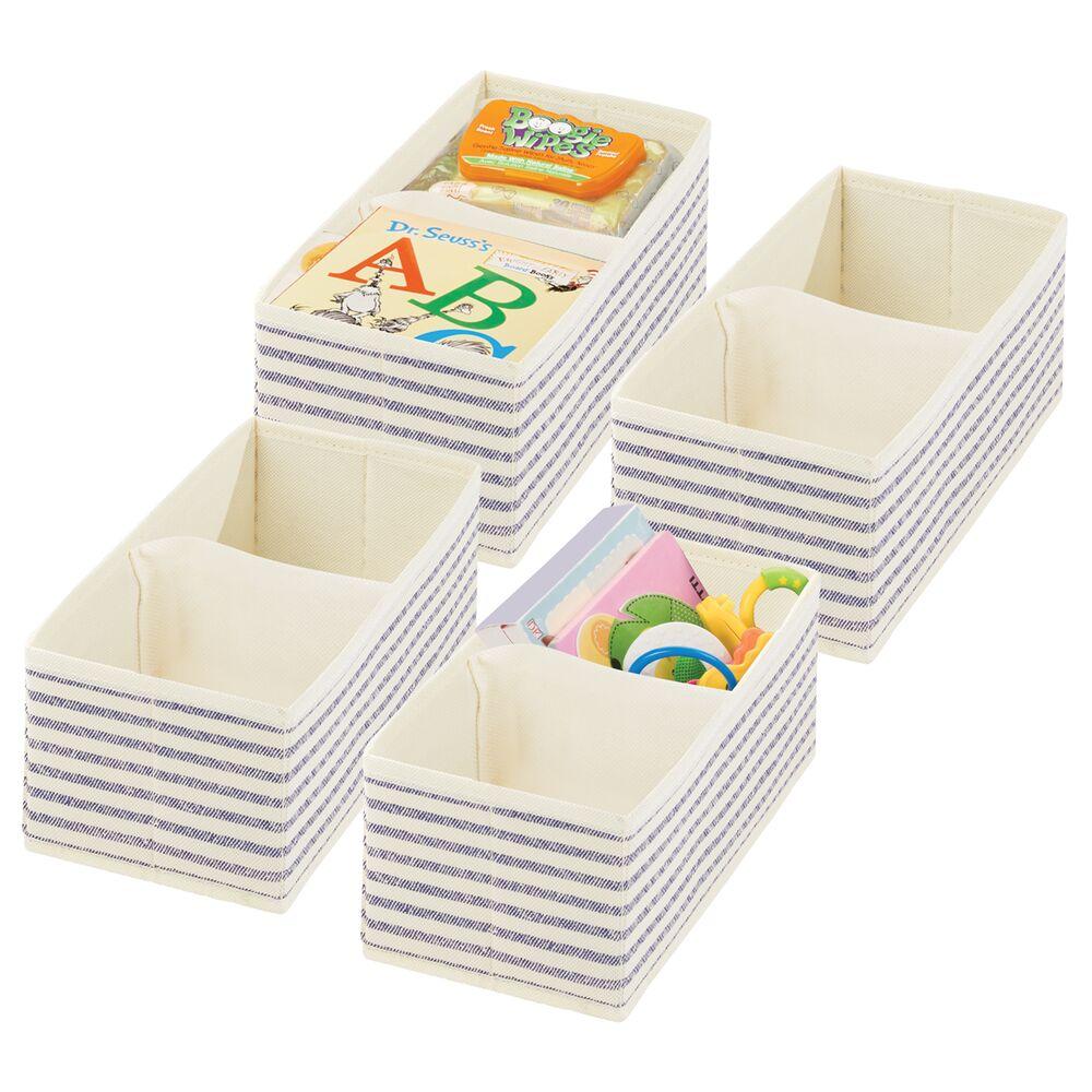 Baby + Kids Polka Dot Fabric Organizer Bin in Natural/Cobalt Blue Stripe, Set of 4, by mDesign