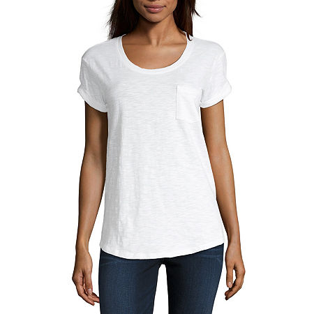 a.n.a-Womens Round Neck Short Sleeve T-Shirt, Xx-large , White