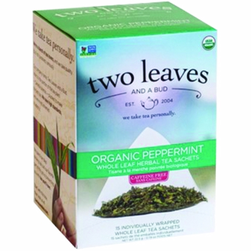 Organic Peppermint Tea 15 Bags by Two Leaves And A Bud