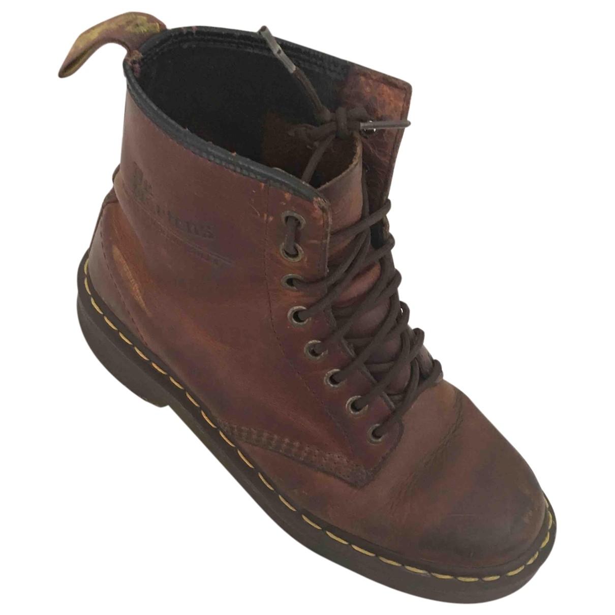 Dr. Martens - Boots   pour femme en cuir - marron