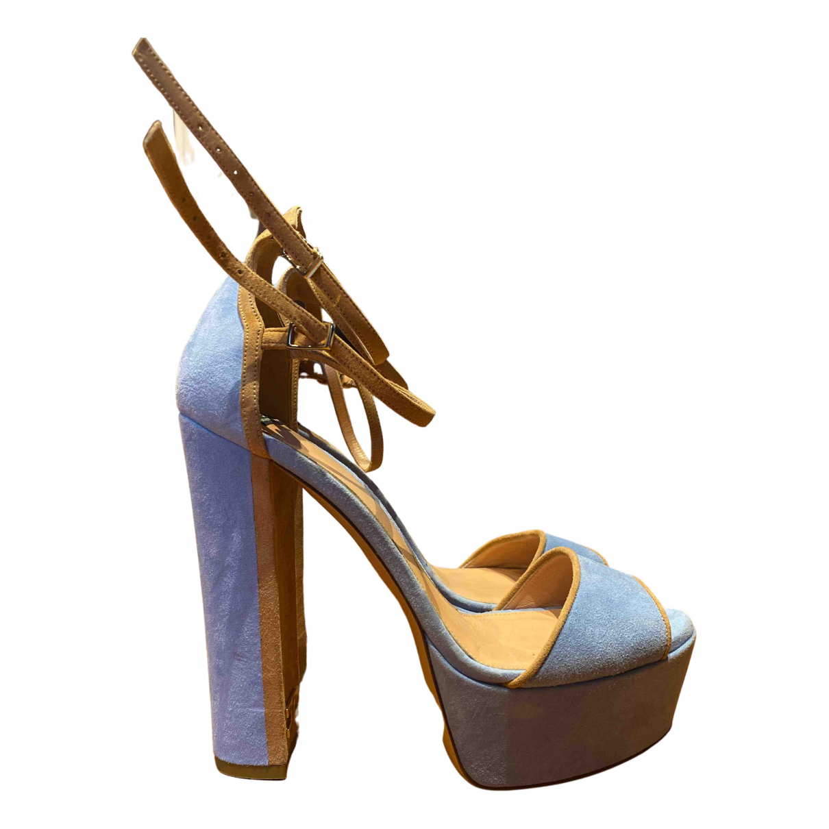 Elisabetta Franchi N Turquoise Suede Sandals for Women 39 IT