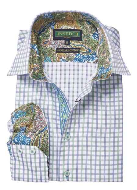 Men's Cotton Long Sleeve Green Collared Trimming Shirt