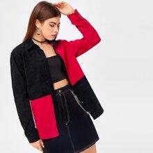 Corduroy Colorblock Button Front Outwear