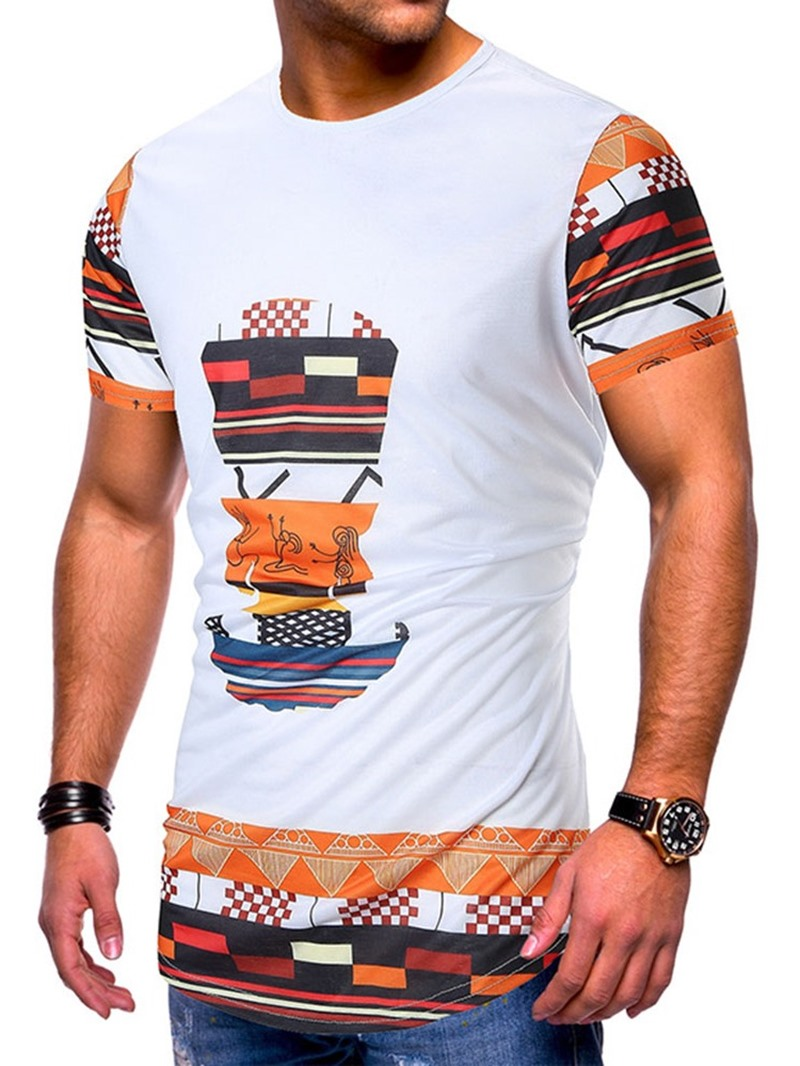 Ericdress Print Round Neck Color Block Slim Mens Short Sleeve T-shirt