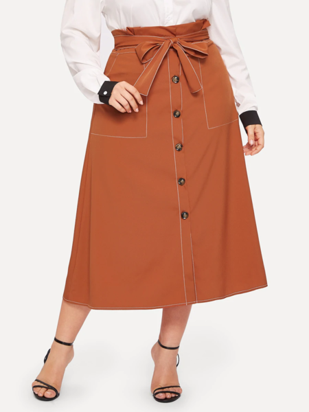 Yoins Plus Size Orange Button Front High-waisted Skirt