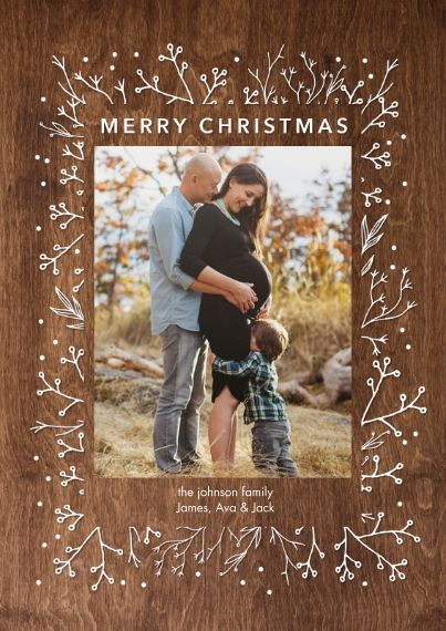 Christmas Photo Cards Flat Matte Photo Paper Cards with Envelopes, 5x7, Card & Stationery -Christmas Woodgrain Foliage by Tumbalina