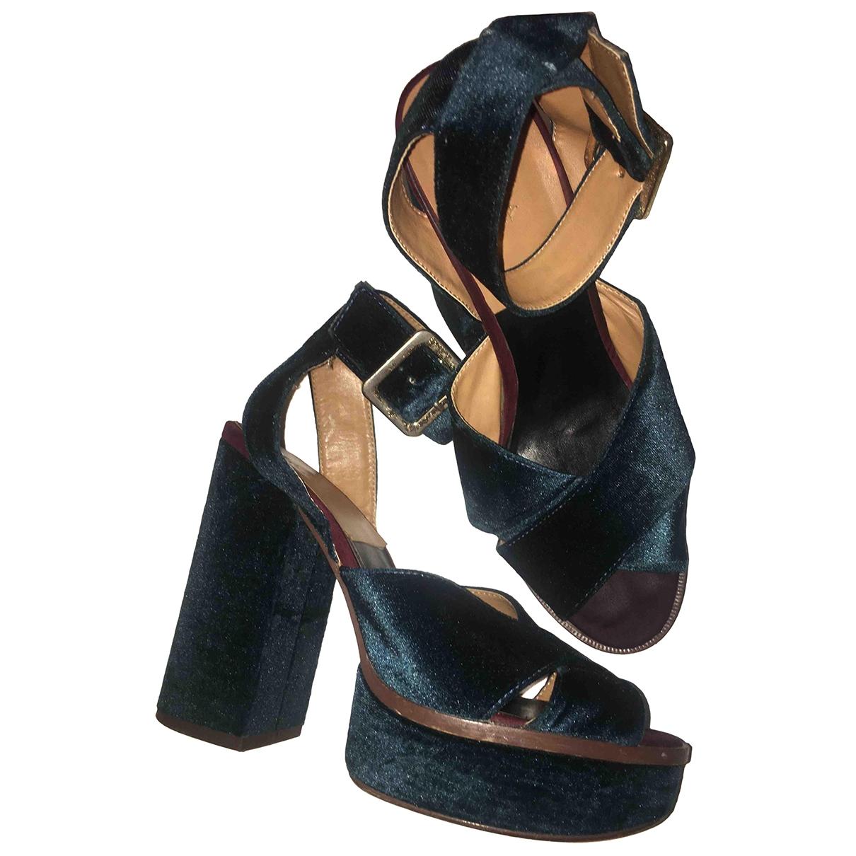 Zara - Sandales   pour femme en velours - vert