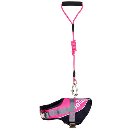 The Pet Life Helios Bark-Mudder Easy Tension 3M Reflective Endurance 2-in-1 Adjustable Dog Leash and Harness, One Size , Pink