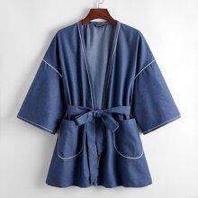 Contrast Tipping Pocket Front Self Belted Coat