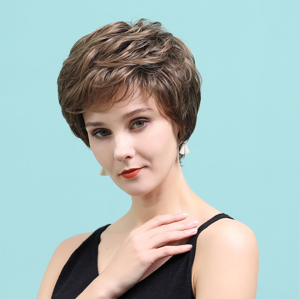 8 inch Brown Mixed Color Textured Short Wig Comfortable Natural Breathable Human Hair Wigs
