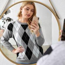 Plus Argyle Pattern Drop Shoulder Sweater