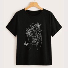 Butterfly & Figure Graphic Tee