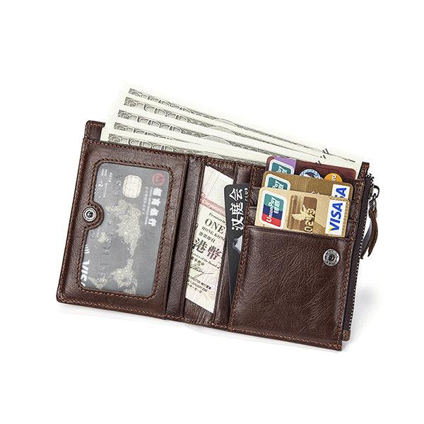 6 Card Holders Vintage Vertical Genuine Leather Coin Bag Wallet For Men