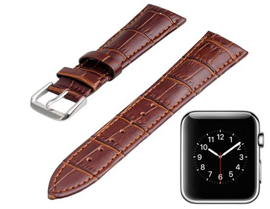 Genuine Leather Band 22x18mm with Screwdriver for Apple Watch 38mm -Coffee