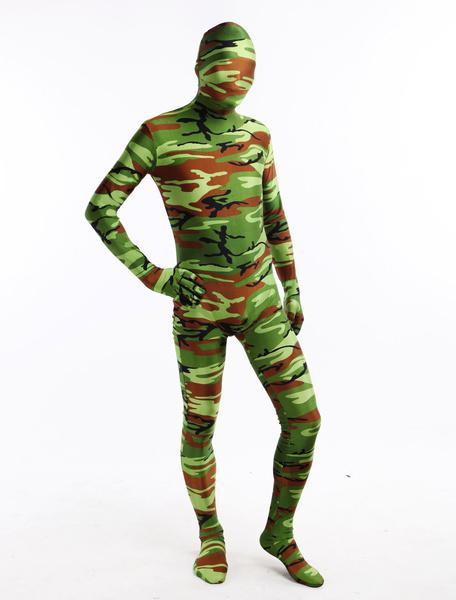 Milanoo Disfraz Halloween Zentai de elastano de marca LYCRA de camuflaje militar de estilo popular  Halloween