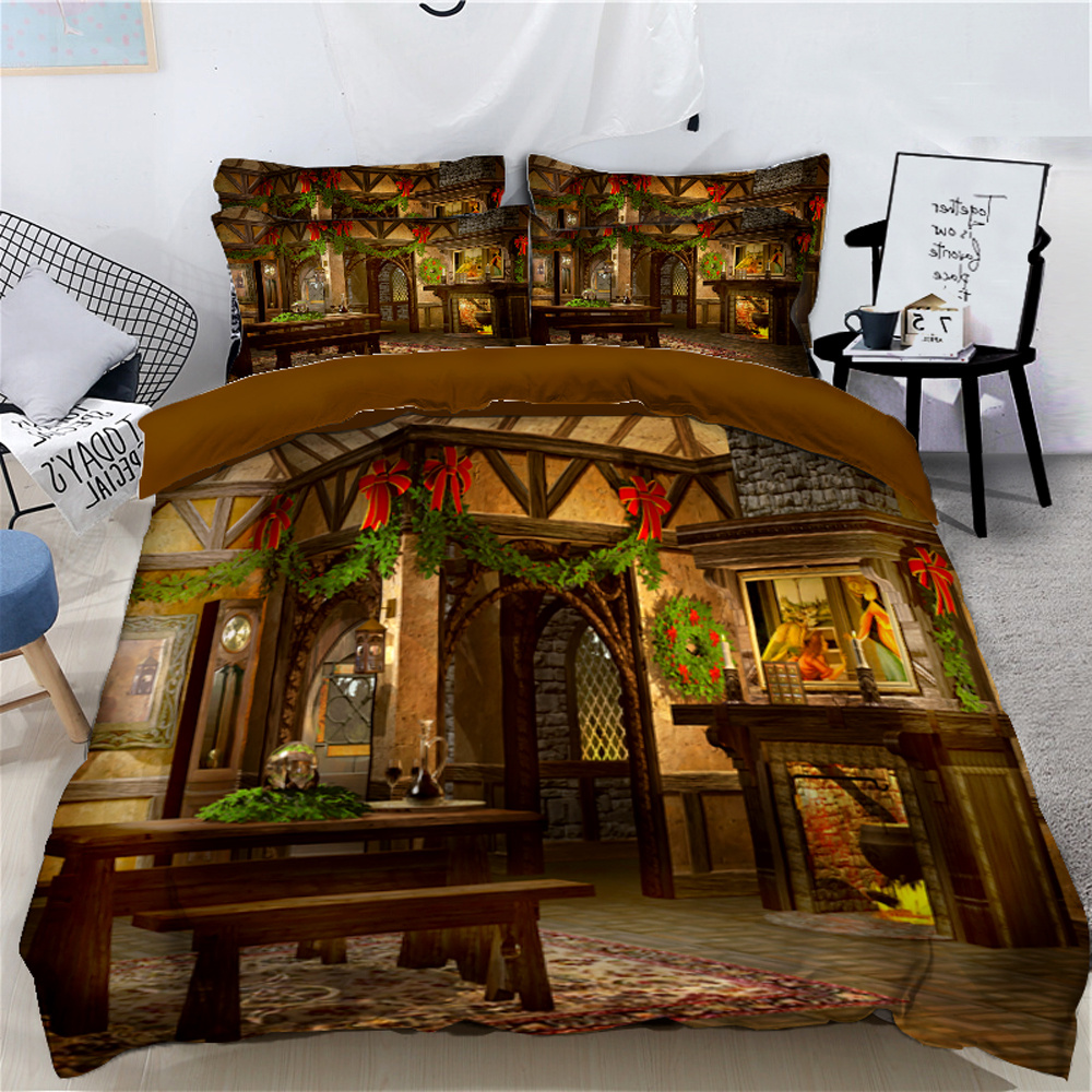 Decorate House with Leaves Christmas Atmosphere Printed 3D 4-Piece Bedding Sets/Duvet Covers
