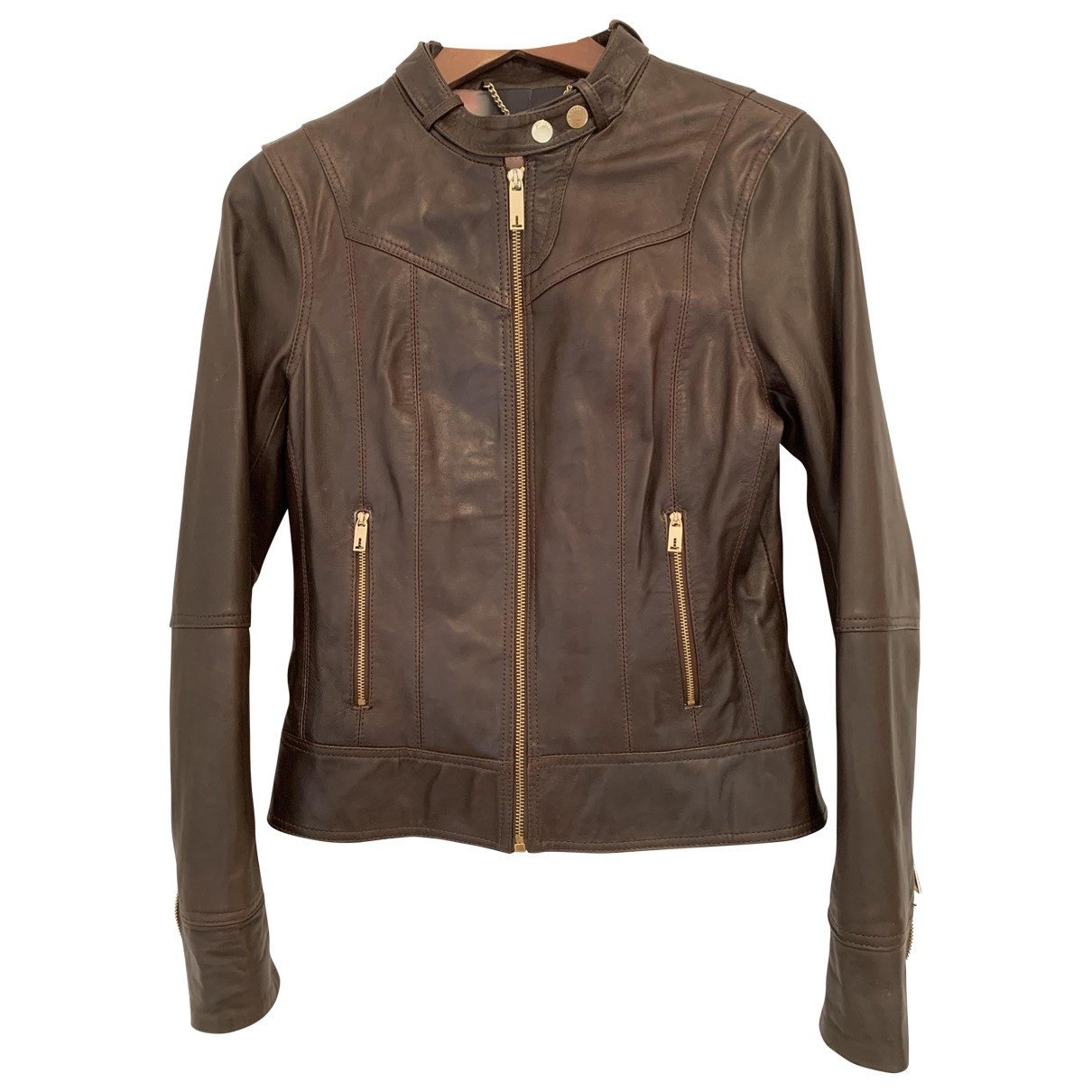Ted Baker \N Brown Leather Leather jacket for Women 10 UK