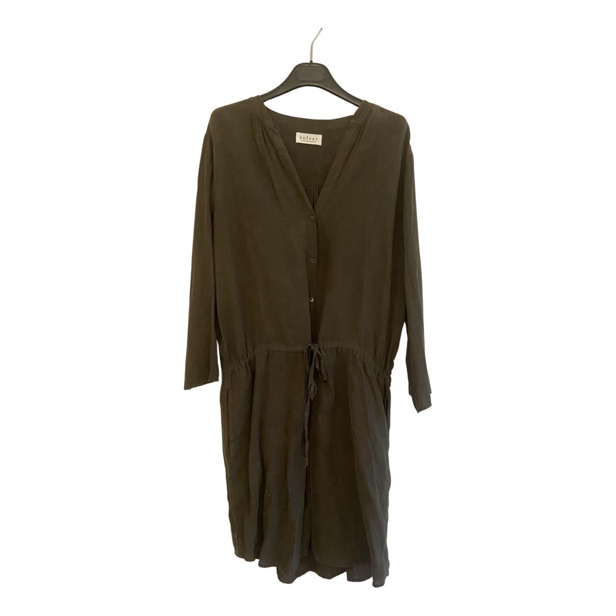 Velvet \N Kleid in  Gruen Leinen