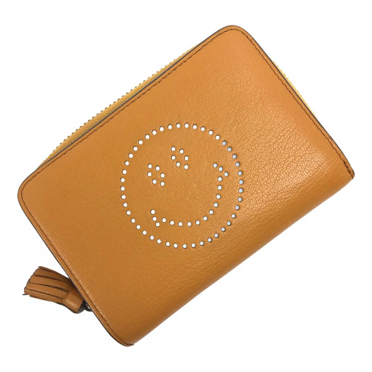 Anya Hindmarch \N Portemonnaie in  Gelb Leder