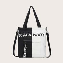 Letter Graphic Color Block Tote Bag