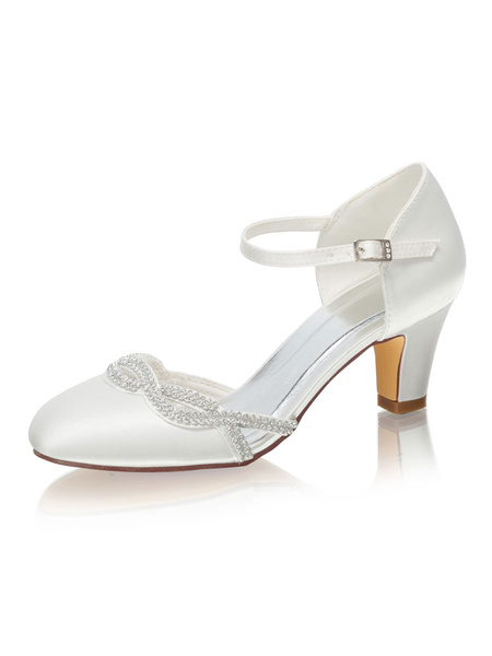 Milanoo Two Part Wedding Shoes Round Toe Mid-low Heel Bridal Shoes