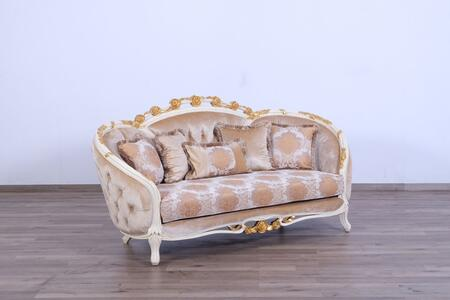 Valentine Collection Luxury Loveseat  Hand Carved and Handcrafted  Seat Cushions Reversible  in Beige and Dark Gold