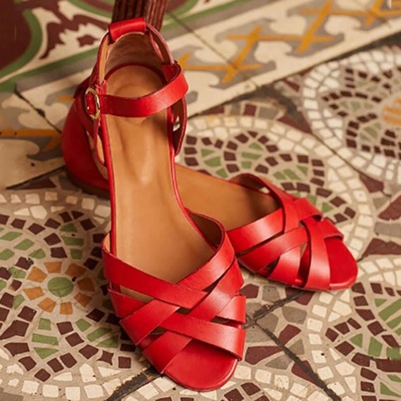 Ericdress Heel Covering Peep Toe Buckle Thread Sandals