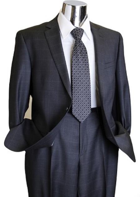 Charcoal 2 Button Window Pane Designer Suit Mens