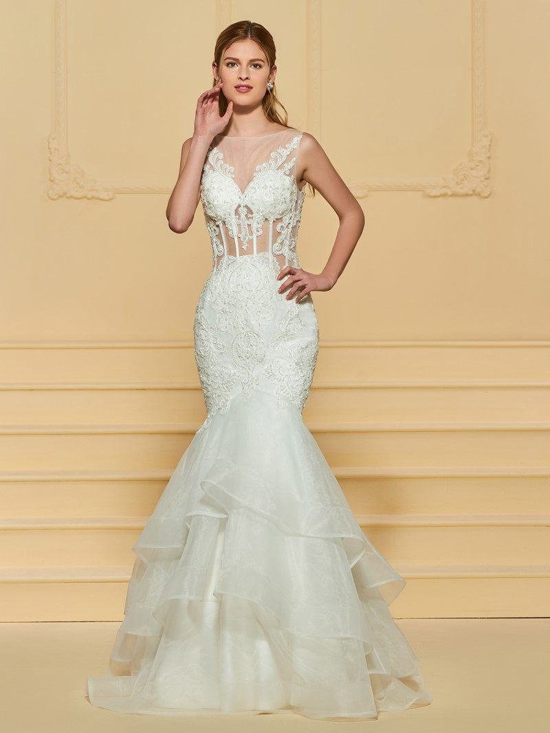 Ericdress Beading Tiered Mermaid Appliques Wedding Dress