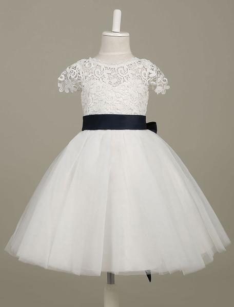 Milanoo Vestido para las niñas de flores blanco con escote estilo marinero con flor con manga corta