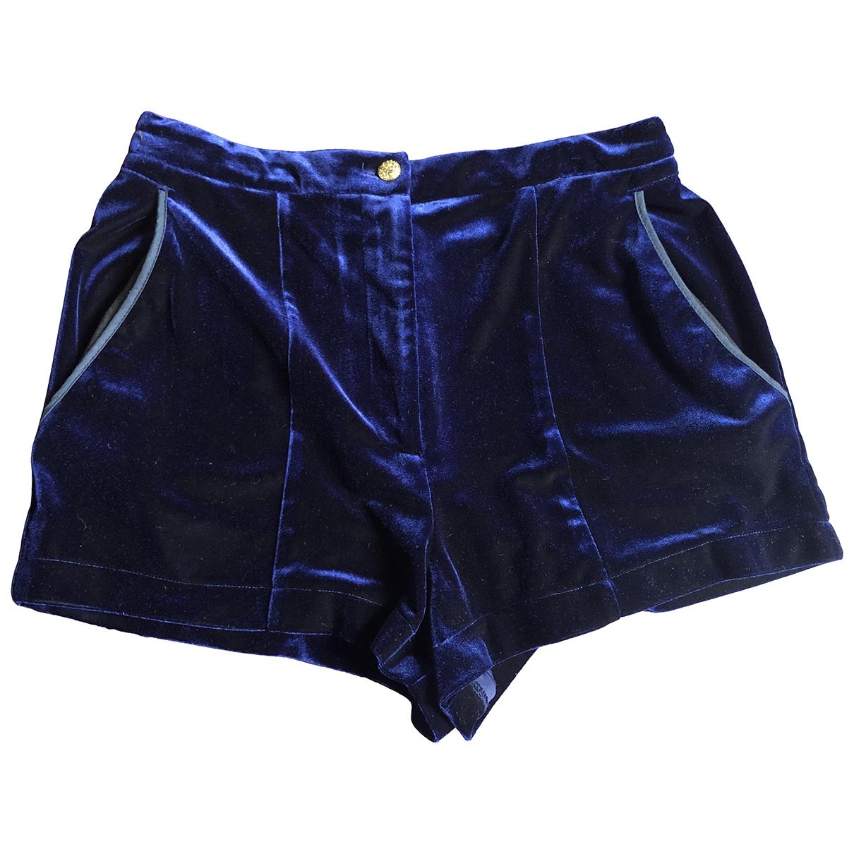 tophop \N Blue Velvet Trousers for Women 10 UK