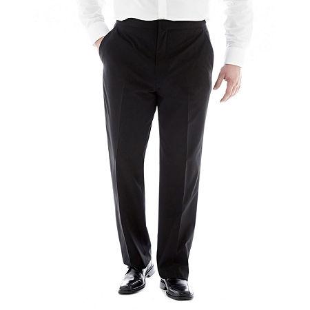 JF J. Ferrar Flat-Front Tuxedo Pants-Big & Tall, 50 32, Black