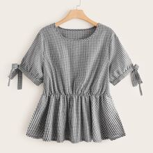 Plus Knot Cuff Gingham Peplum Blouse