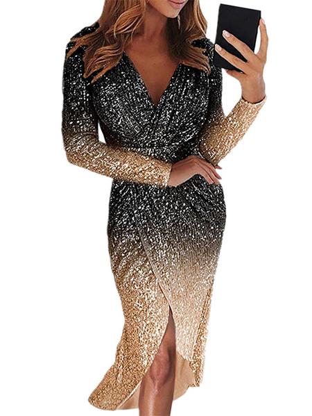 Yoins Black Sequins Embellished Wrap Design Deep V Neck Dress
