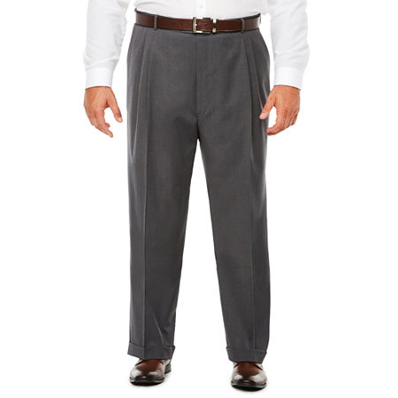 Stafford Medium Grey Travel Woven Pleated Suit Pants - Classic Fit, 60 32, Gray