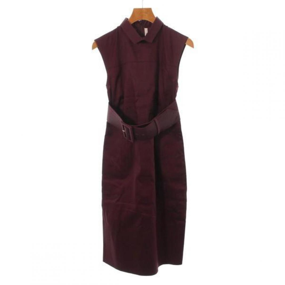 Celine \N Kleid in  Bordeauxrot Baumwolle