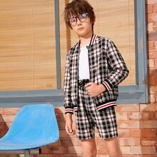 Boys Striped Trim Plaid Bomber Jacket & Shorts Set