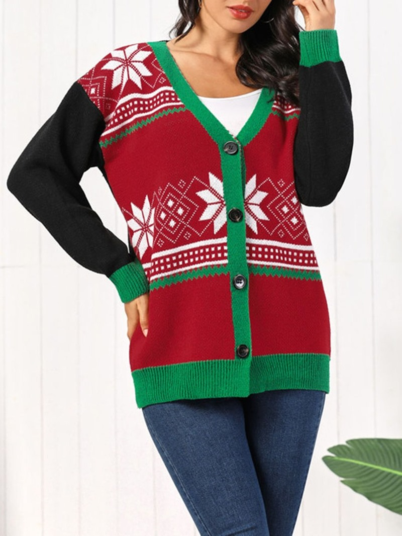 Ericdress Single-Breasted Regular Thick Mid-Length V-Neck Christmas Women's Sweater