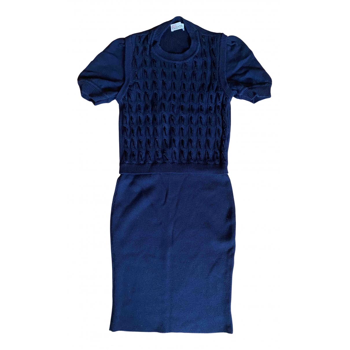 Red Valentino Garavani \N Kleid in  Marine Wolle