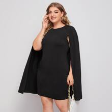 Plus Solid Cape Dress