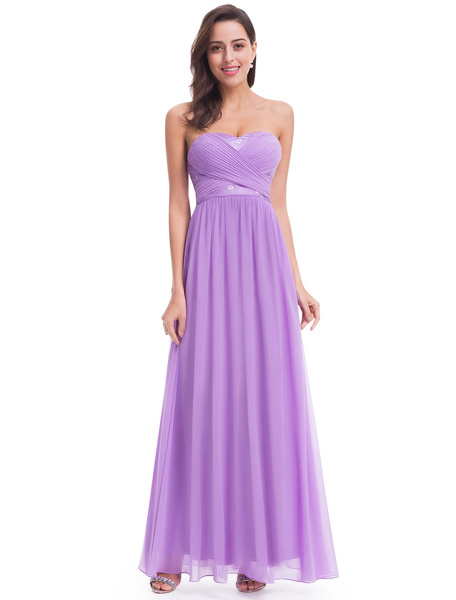 Milanoo Lilac Bridesmaid Dresses Long Strapless Sweetheart Chiffon Ruched A Line Floor Length Wedding Guest Dresses