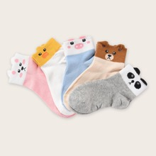 5pairs Girls Cartoon Pattern Socks