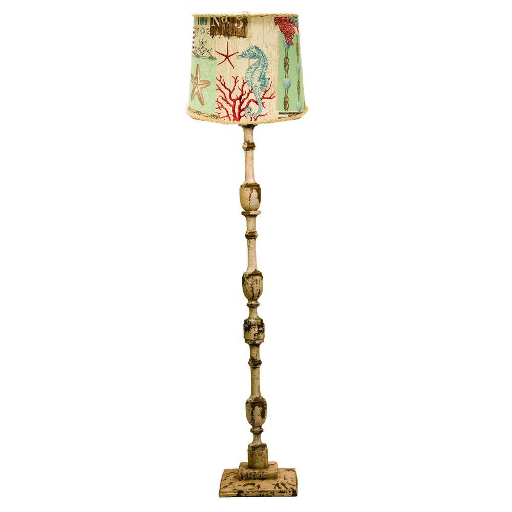 Somette Harlan Weathered Cream 58-inch Floor Lamp (Harlan Floor, Nautical Patch Shade)