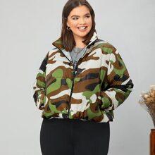 Plus Zipper Placket Camo Puffer Jacket