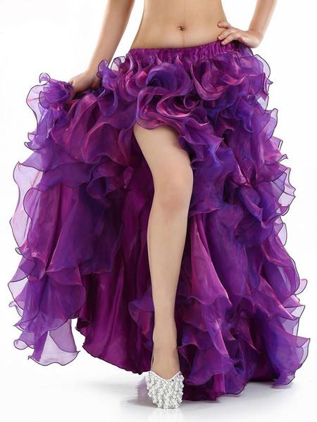 Milanoo Belly Dance Long Skirt Deep Purple Ruffle High Slit Belly Dance Wear For Women