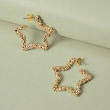1pair Textured Star Outline Earrings