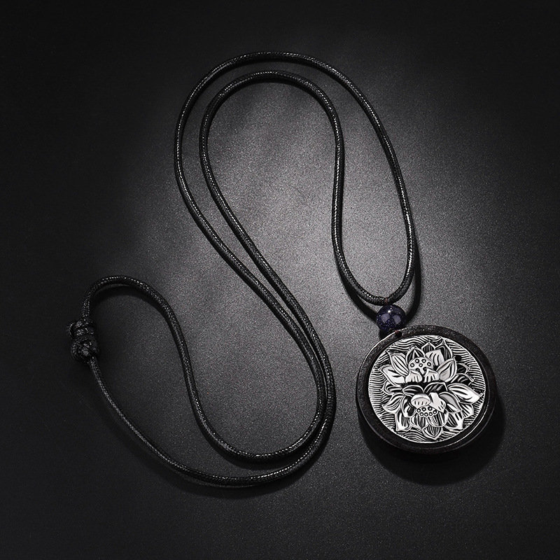 Ethnic Black Ebony Lotus Pendant Necklace Black Wooden Retro Necklace For Women Men