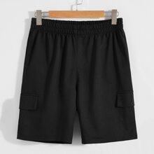 Men Solid Elastic Waist Shorts