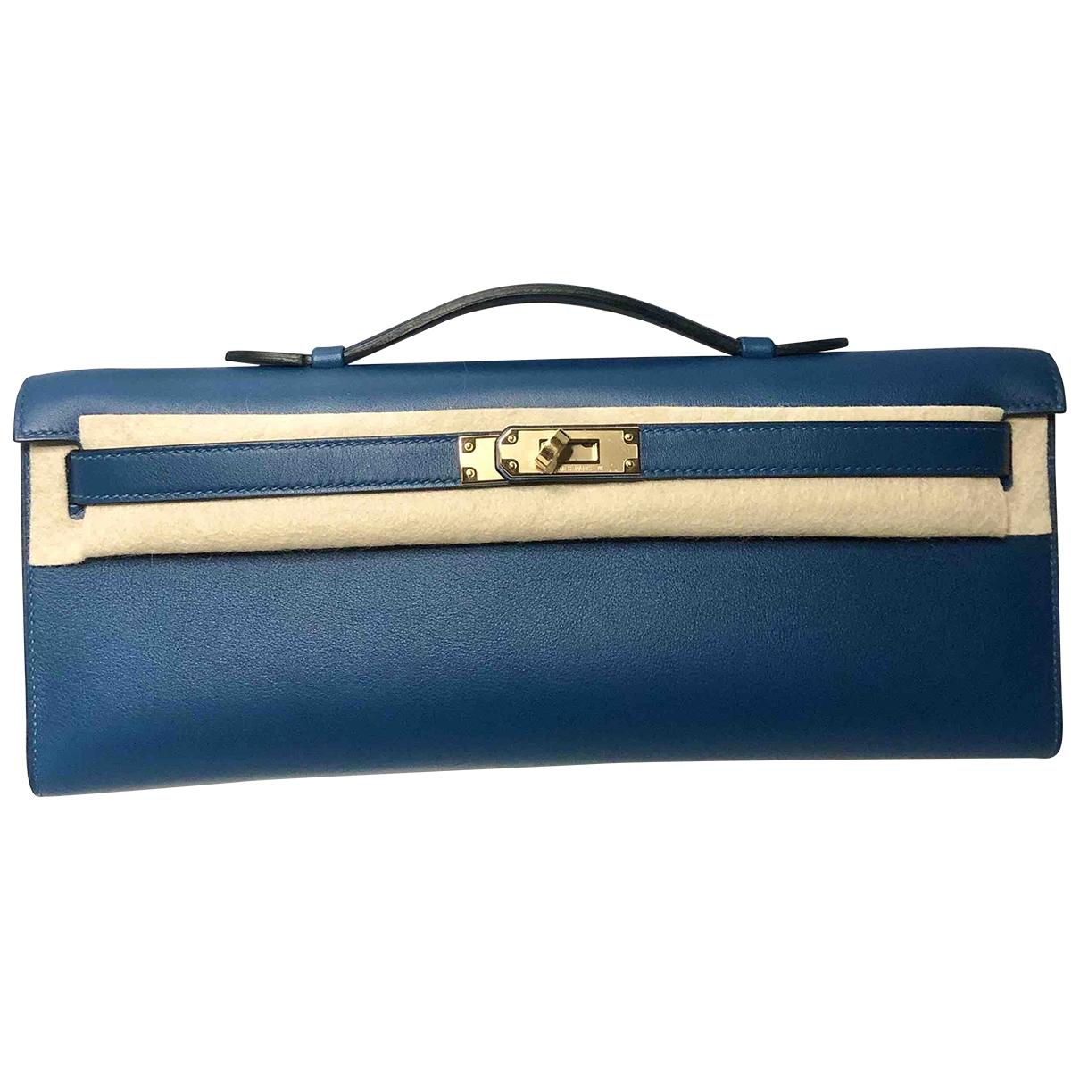 Hermès Kelly Cut Clutch Blue Leather Clutch bag for Women \N